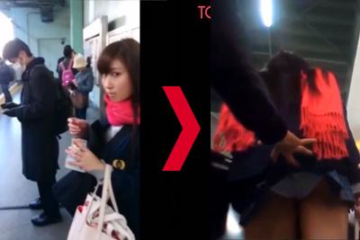 《盗撮》駅で見つけた激カワギャル女子校生逮捕恐れず震える手でスカートめくってパンツを隠し撮りww