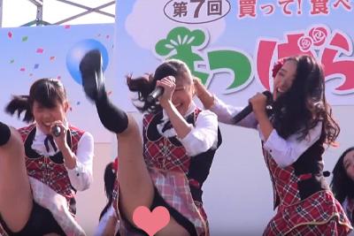 【アイドル パンチラ】高画質!制服で踊る美少女アイドルの見せパンブルマからはみ出したパンツの柄までくっきり♪ 問題のシーン2:09