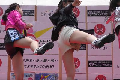 【アイドル パンチラ】JKアイドルがハイキックでショーパンの隙間からパンツがチラリ♪ 問題のシーン4:25